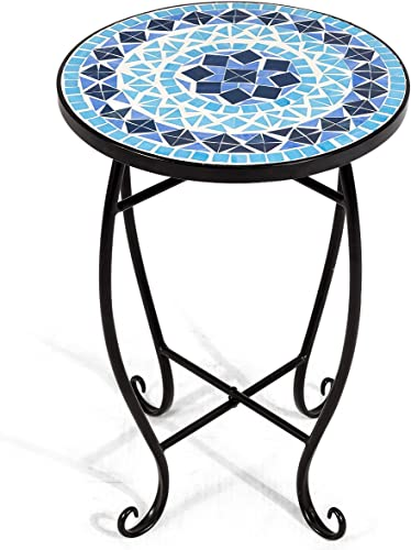 RELAX4LIFE Side Table Outdoor Mosaic Round 14 Inch W/Glass Table Top and Steel Frame