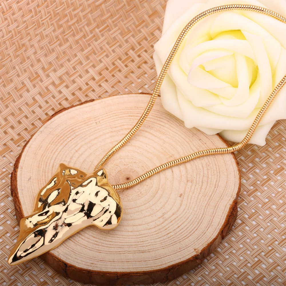 BEMI Elegant Girls Gold Plated Geometric Statement Pendant Long Sweater Snake Chain Necklaces for Womens