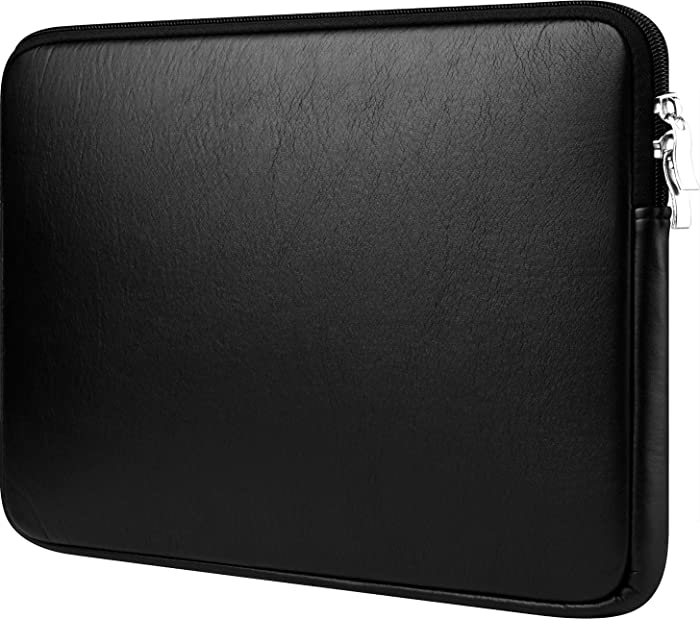 """CCPK 13 inch Laptop Sleeve 13"""" Cover Case Bag Compatible for Apple New MacBook Air 2018 Mac Pro 2018 2017 2016 13.3-inch with Touch Bar Dell Latitude 7390 Hp Envy x360 Waterproof PU Leather Black"""