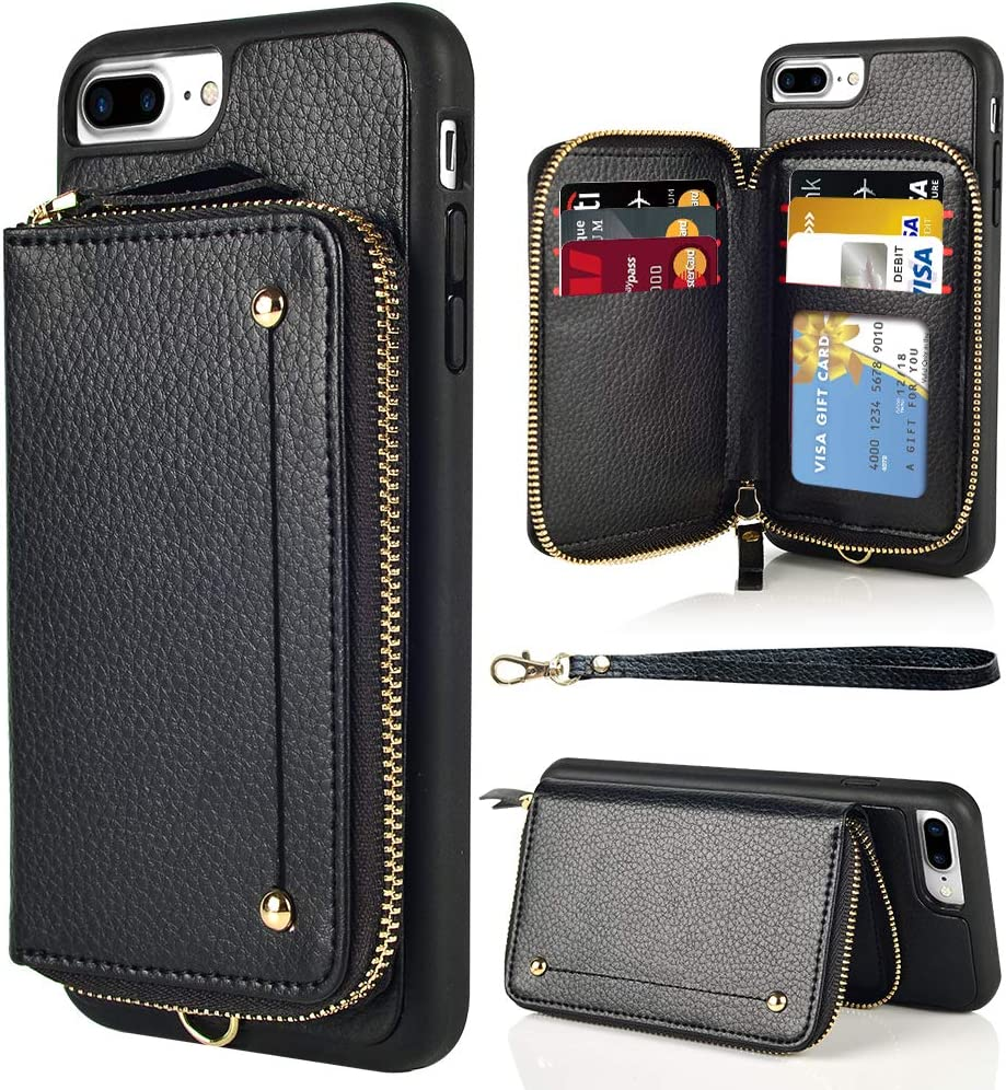 iPhone 8 Plus Leather Case LAMEEKU Shockproof Apple 7 Plus Credit Card Holder Slot Cases with Zipper Wallet Black iPhone 7 Plus Wallet Case Protective Cover for Apple iPhone 7 Plus//8 Plus