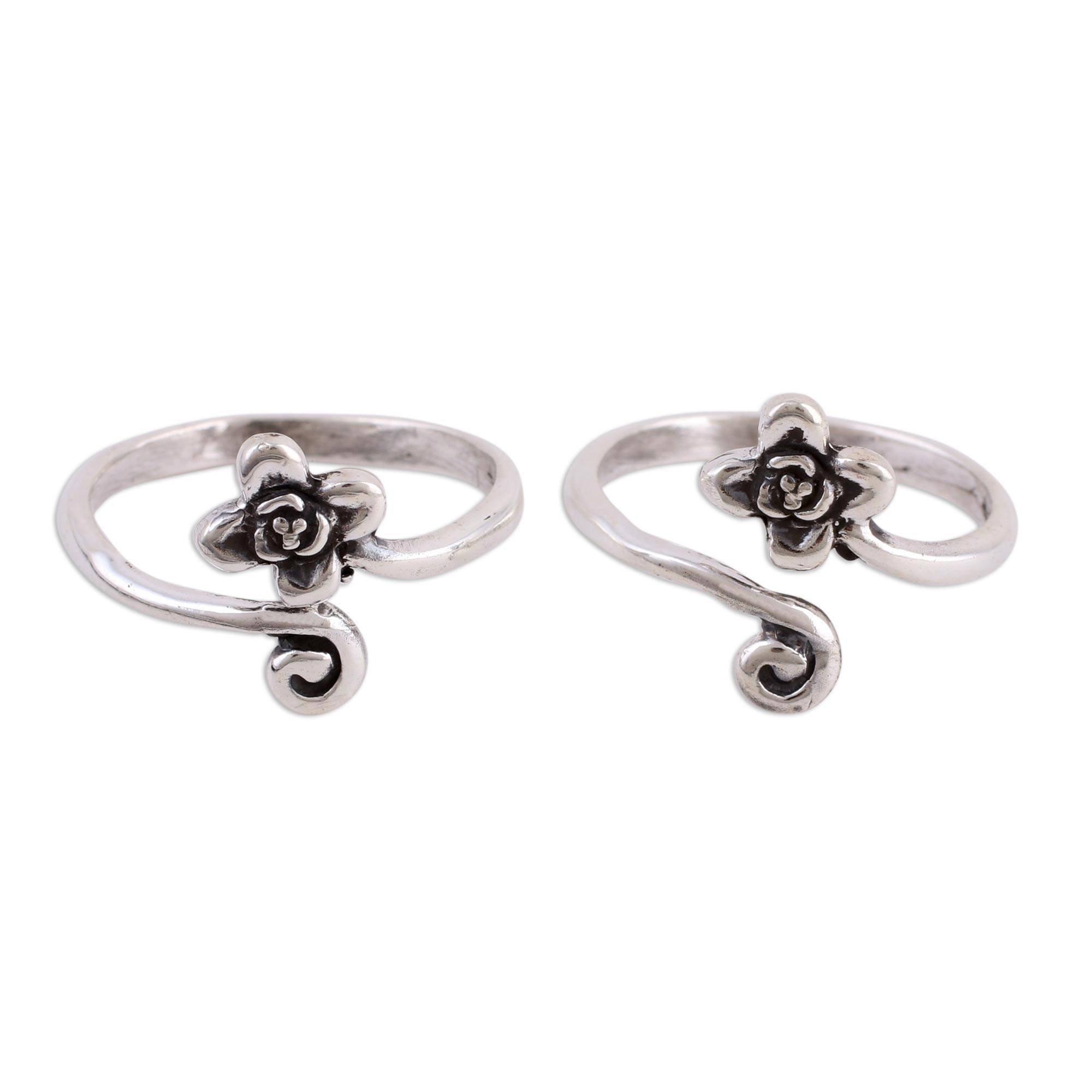 NOVICA .925 Sterling Silver Set of 2 Adjustable Floral Toe Rings, Flower and Swirl' (pair) by NOVICA