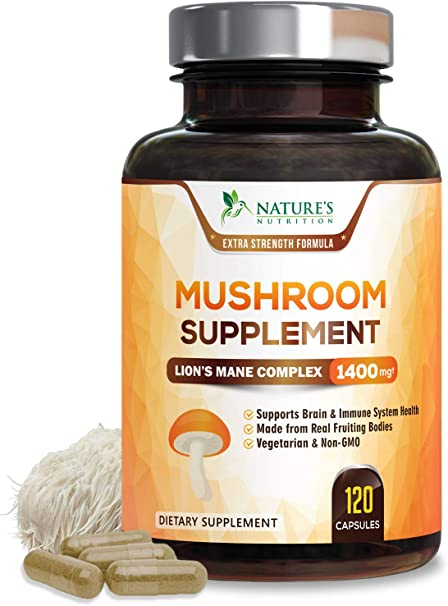 Mushroom Supplement with Lions Mane, Reishi, Chaga, Maitake - Daily Immune Support and Nootropic Brain Support Formula - Made in USA - Natural Energy and Focus - 120 Capsules