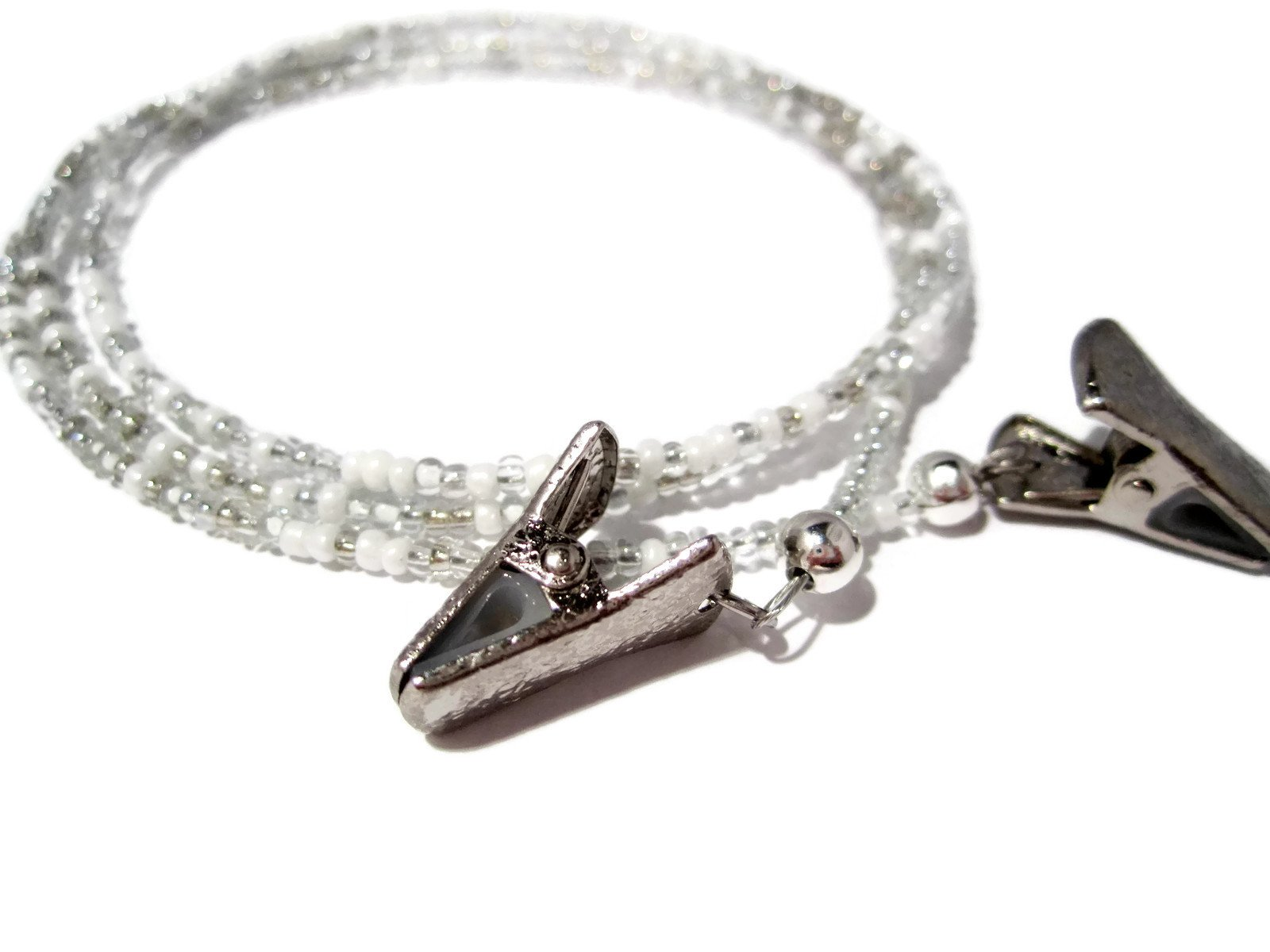 ATLanyards White and Silver Clip Eyeglass Holder - White and Silver Beaded Clip Eyeglass Chain