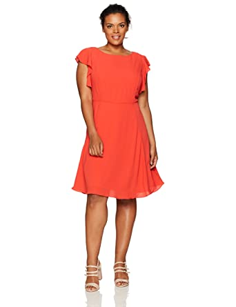 391b9bc3d17d0b Julia Jordan Women s Plus Size One Piece Flutter Sleeve Solid Fit and Flare  Dress at Amazon Women s Clothing store