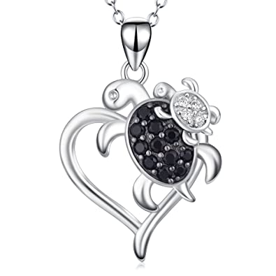 POPLYKE Turtle Necklace Sterling Silver Mother And Daughter Son Sea Heart Pendant For Women