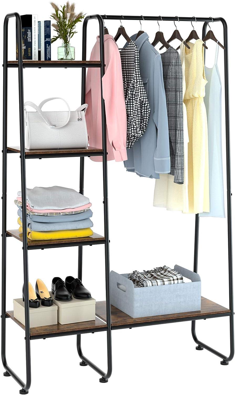 Homfa Metal Garment Rack, Freestanding Clothing Coat Rack with 5 Wood Storage Shelves and Hanging Bar, Open Wardrobe Closet Storage Organizer, For Bedroom Living Room Entryway