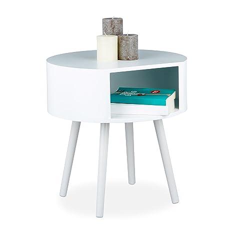 Relaxdays Mesa Auxiliar con Compartimento, Madera de Pino y DM, Blanco, 47 x 46 x 46 cm