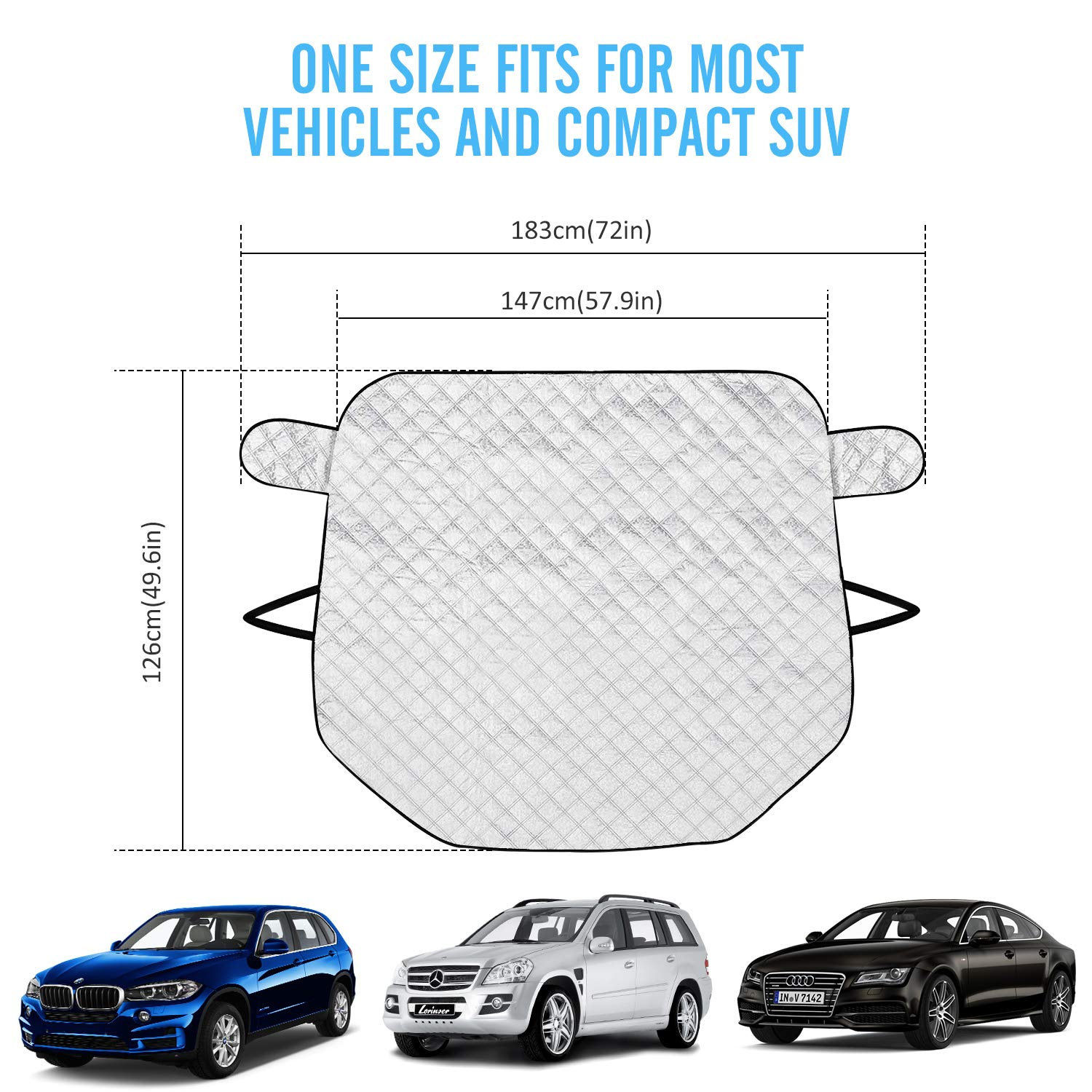 167x126cm Frost Cover Snow Ice Protector Magnetic Windscreen Covers Car Windsheild Sun Shade in All Weather for Car//Truck//SUV Rorchio Ultra Thick Car Windshield Cover