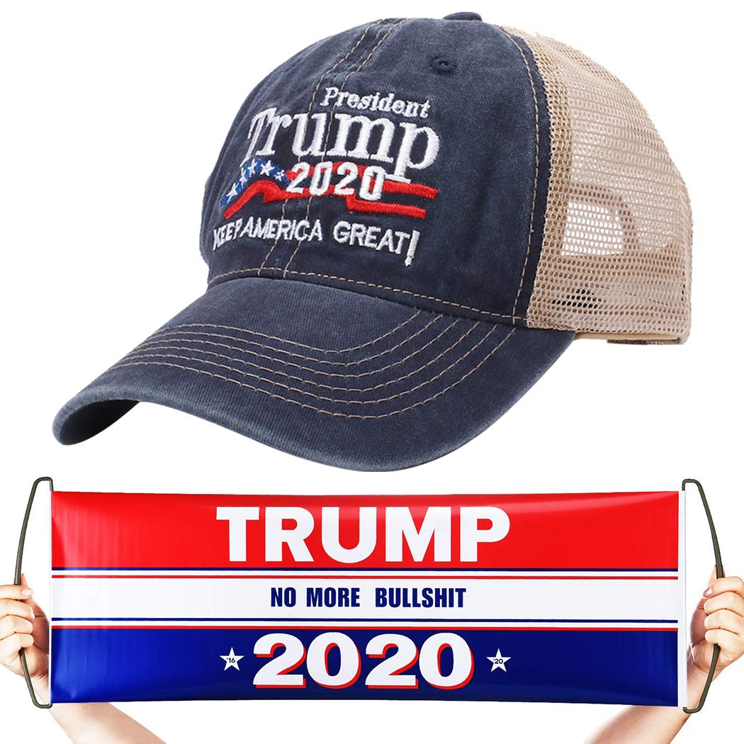 Unisex Donald Trump 2020 Hat /& Handheld Banner Flag Printed Keep America Great USA Flag Adjustable Baseball Visor Mesh Cap
