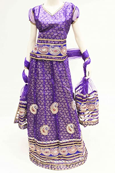 dcc3140 Indigo y dorado funda Lengha Choli Indian Bollywood ...