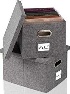 Collapsible File Box Storage Organizer with Lid [2 PACK] Decorative Linen Filing Storage Office Box Hanging Letter/Legal Folder Home Office Bins Cabinet Container (L, Gray)