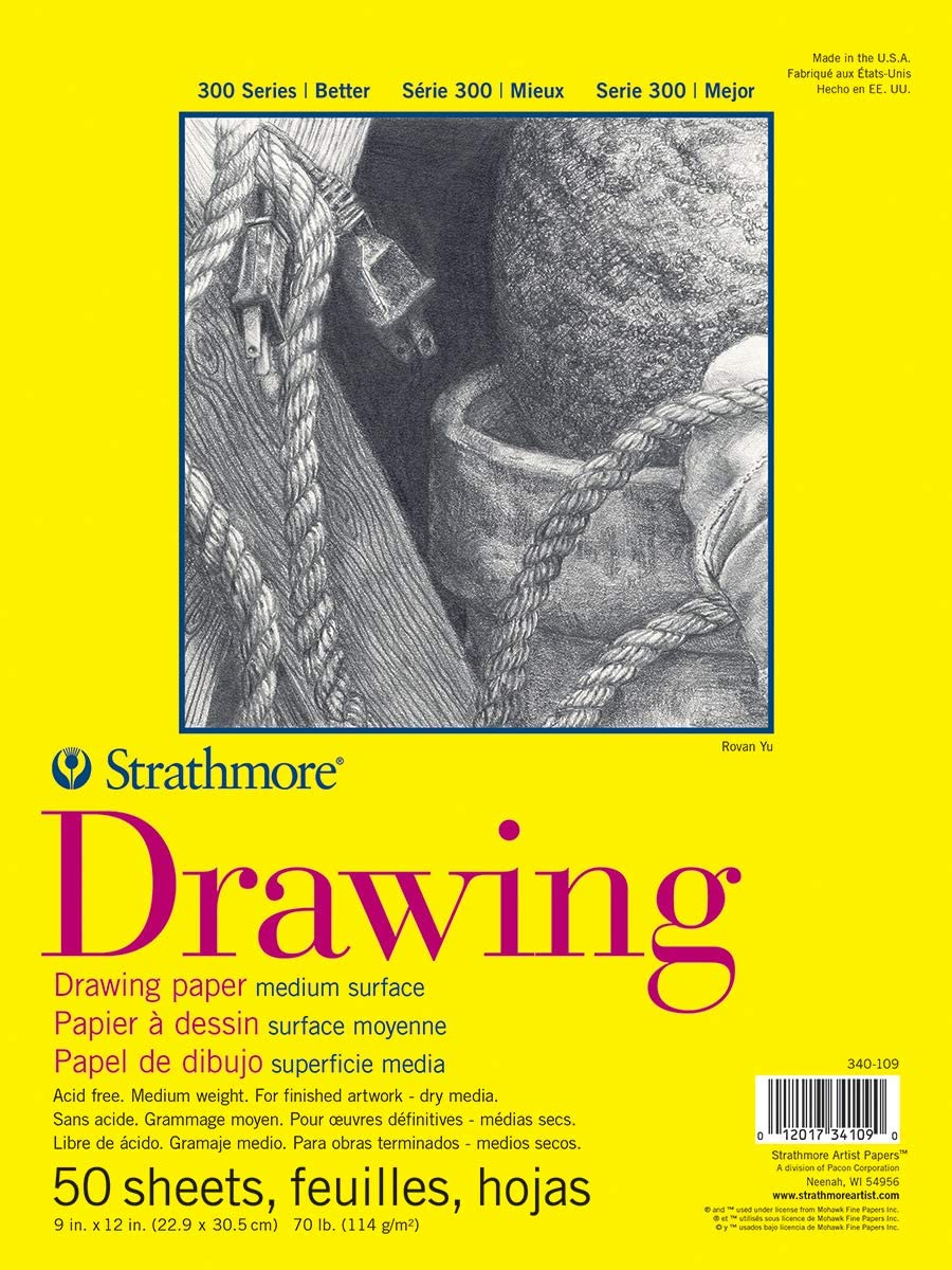 """Strathmore 300 Series Drawing Pad, Medium Surface, 9""""x12"""", Glue Bound, 50 Sheets: Office Products"""