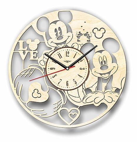 Nueva Mickey Mouse reloj de pared hecho de madera – perfecto y muy bien corte –