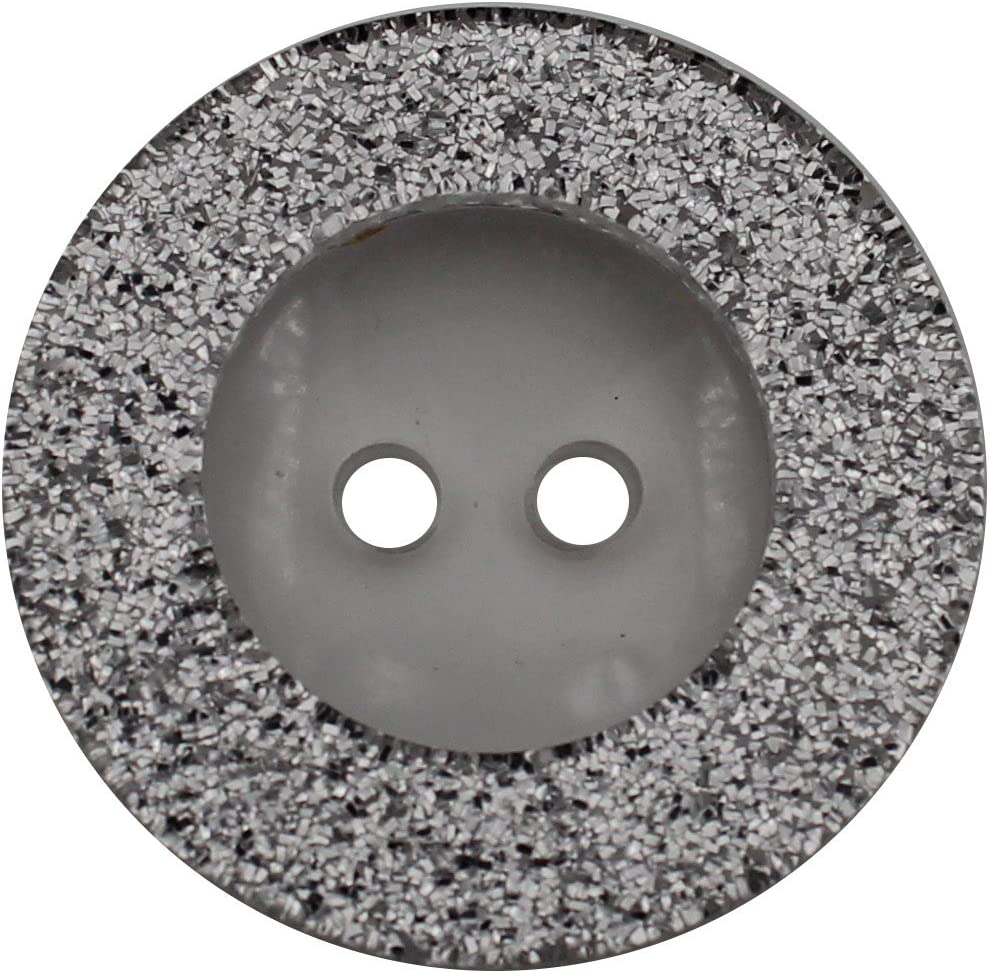 23 mm Hartmann-Kn/öpfe Lot de 6 Boutons en Plastique Transparent avec Paillettes argent/ées 2 Trous Fabriqu/é en Allemagne Disponible en 3 Tailles argent/é
