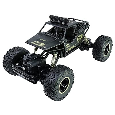 Wireless Remote Control Car, 1:16 Scale Alloy 4WD RC Truck, Off-Road Rock Toy RC Vehicle Crawler