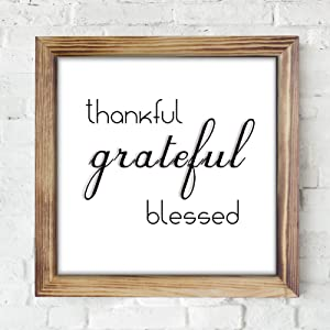 Thankful Grateful Blessed Wall Sign - Farmhouse Wall Decor Sign - Wood Home Wall Sign Decor, Inspirational Wall Art, Rustic Table Decor, Modern Farmhouse Sign For Living Room With Funny Quotes 12