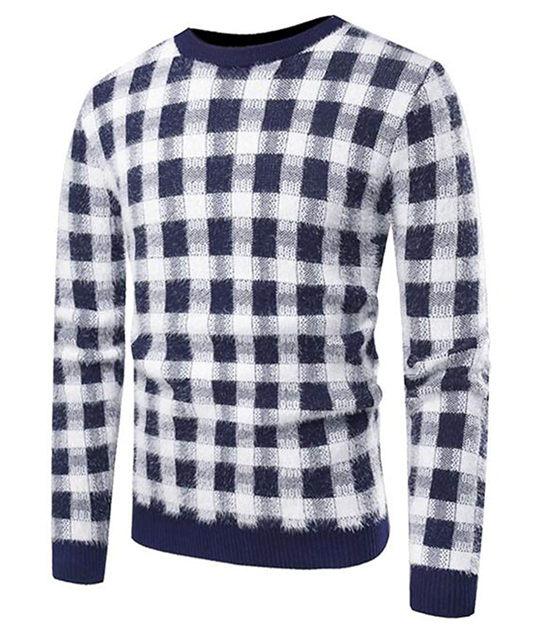 X-Future Mens Long Sleeve Slim Casual Crew Neck Plaid Check Knitted Pullover Sweater
