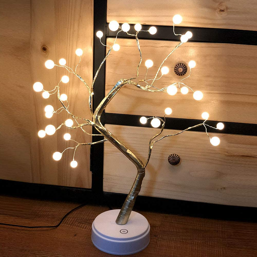 Walmeck 2 Impetus Offer Mode Energy Saving Home Decoration 36 Pearl Bulbs Emulational Tree-Shaped Bonsai Light with Warm White Color