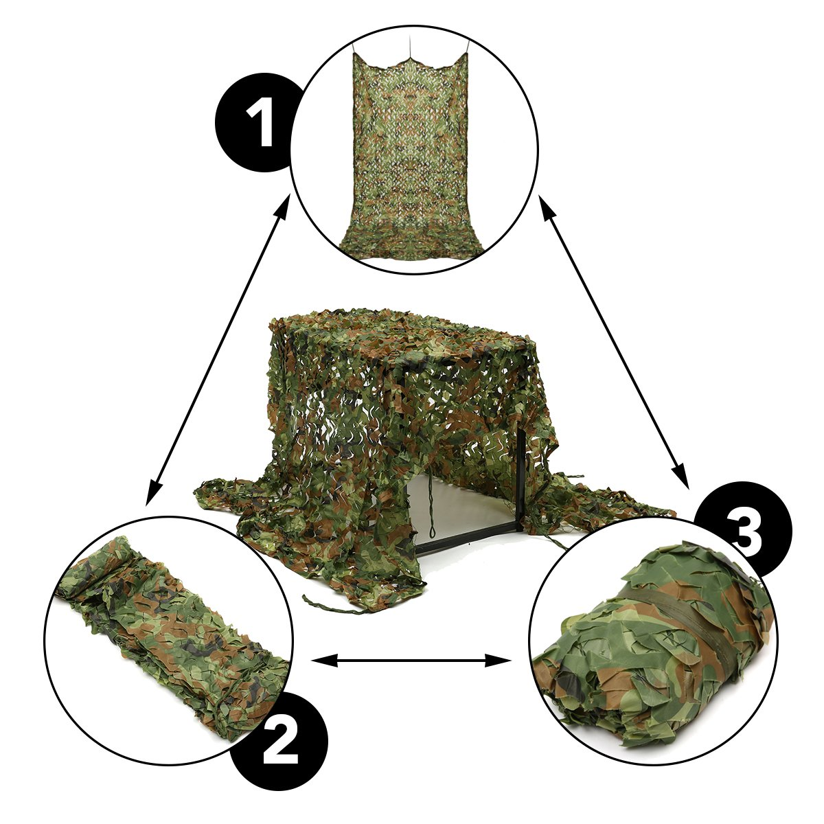 Woodland Camo Net, OUTERDO 6.6ft x 10ft Camouflage Netting Military Desert Camo Netting Camping Hunting Shooting Blind Sunscreen Netting Camouflage Party Decoration on Halloween Christmas by OUTERDO (Image #7)
