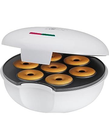 Clatronic DM 3495 Máquina para Hacer Donuts o Rosquillas, Placa Ant 900 W, Blanco