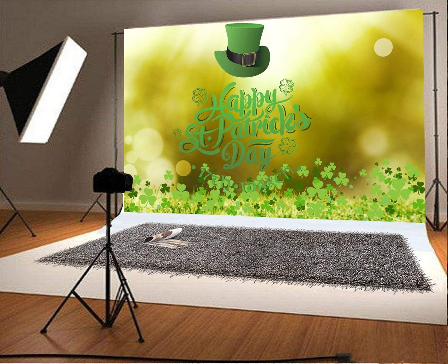 Patricks Day Lucky Irish Shamrock Leprechauns Hat Bokeh Sequins Green Clover Photo Background Children Baby Adults Portraits 10x6.5ft Polyester Photography Backdrop Happy St