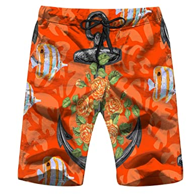 Mens Boys Casual Novelty Beach Shorts Swim Trunk Retro Swimming Trunks Tropical Fish