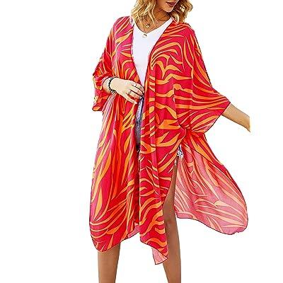 ZSWDXX Women Casual Stripe Print Short Sleeve Kimono Cardigan Loose Cover Up at Amazon Women's Clothing store