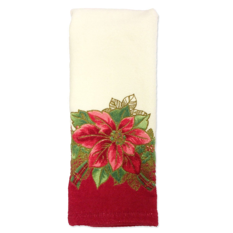 Lenox Poinsettia Tartan Printed Fingertip Towel Bardwil Linens 7940-FGR/TOW-Multi