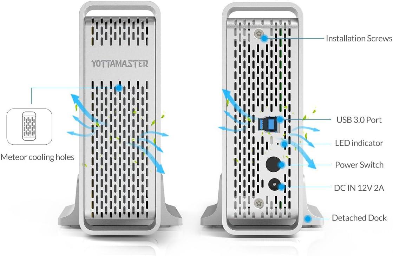 Yottamaster Aleaci/ón de Aluminio 4 Bah/ía 3.5 Pulgadas USB3.0 Raid External HDD Recinto SATA3.0 Soporte 4 x 10TB y UASP Plata