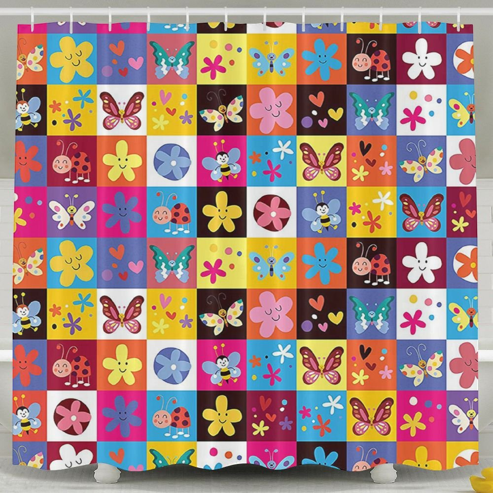 Mkajkkok Butterflies Beetles Flowers Bees Bugs Hearth Spring Lovely Hippie Season A Fashionable And Comfortable Shower Curtain.
