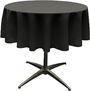 LA Linen Tablcloth Polyester Poplin Tablecloth 58-Inch Round, Black