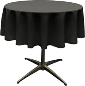 "LA Linen Polyester Poplin Round Tablecloth, 58"", Black"