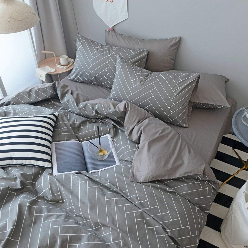 Chevron Striped Cotton Duvet Cover Set Queen Modern Grey Geometric Bedding Set 3 Piece Luxury Hotel Duvet Comforter Cover Set 1 Duvet Cover with 2 Pillowcases Reversible Full Queen Bed Set by LifeTB