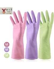 Kitchen Glove Reusable Durable Rubber Latex Gloves for Housework Dishwashing Laundry Household Cleaning Gauntlet Household Cleaners 3Pairs Medium Size 8 Various Colors(Cyan Purple Pink) CA