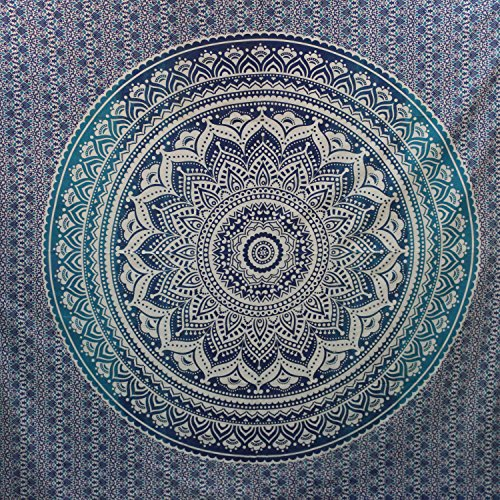 Montreal Tappassier Ombre Indian Wall Hanging Hippie Mandala Tapestry Bohemian Bedspread Ethnic Dorm Decor, Blue - Blue Tapestry