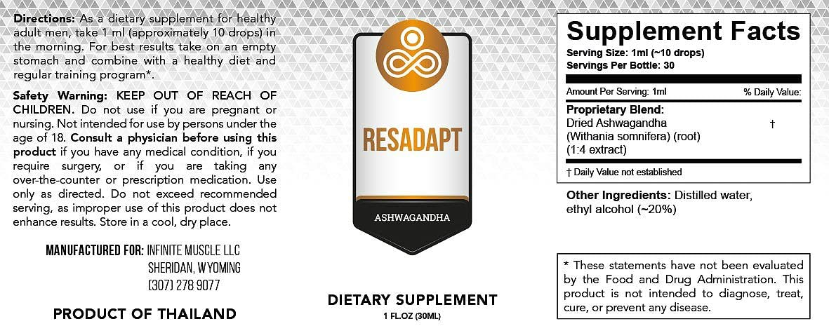 Premium Ashwagandha Supplement Resadapt – Powerful Adaptogenic Herbal Extract – Liquid Drops for Best Absorption – Non-GMO – Vegan – Immune System Energy Boost – Anti-Anxiety Action