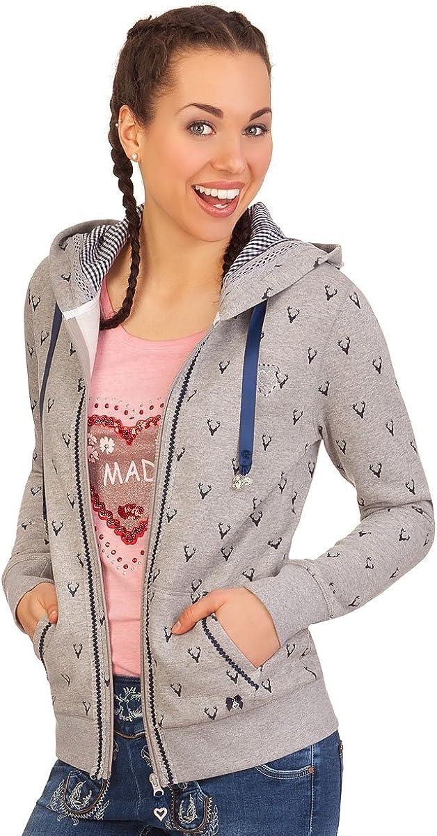 Hailys Damen Trachten Sweat Jacke Zip Hoodie Stickerei 2