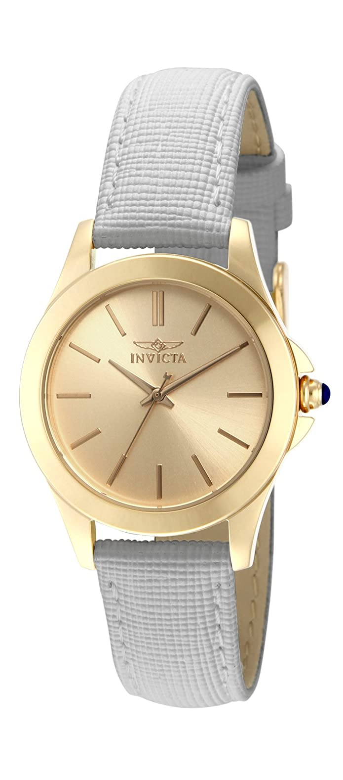 Invicta Womens 15149 Angel 18k Yellow Gold Ion-Plated Stainless Steel and White Leather Watch