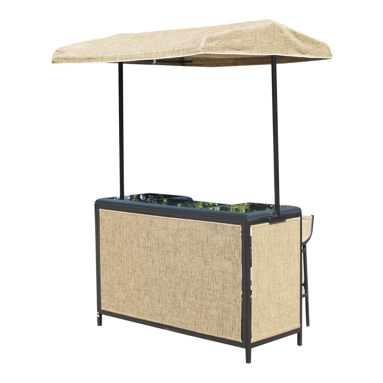 Amazon.com : Outsunny 3 Piece Outdoor Mesh Cloth Canopy Bar Set ...