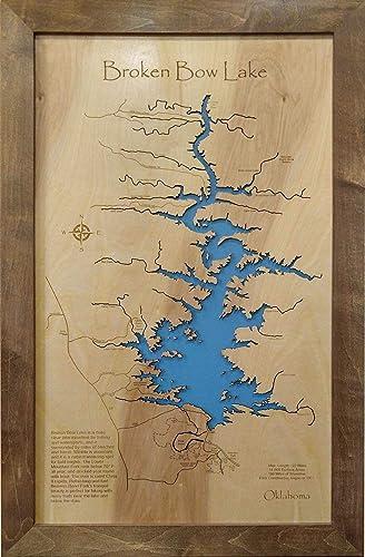 Amazon Com Broken Bow Lake Oklahoma Framed Wood Map Wall Hanging Handmade