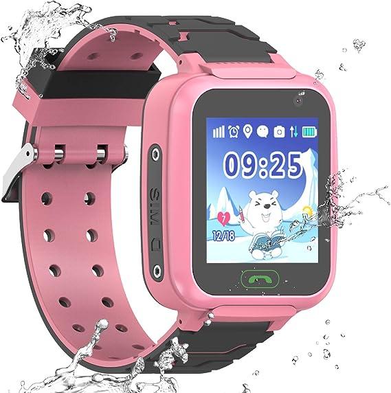 Kids Smartwatch GPS Tracker Phone, Students Waterproof Watch with 2 Way Calls WiFi GPS Locator SOS Voice Chat Camera Alarm Clock Watches Birthday ...
