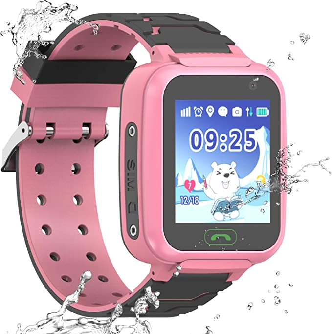 Kids Smartwatch GPS Tracker Phone, Students Waterproof Watch with 2 Way Calls WiFi GPS Locator SOS Voice Chat Camera Alarm Clock Watches Birthday ...