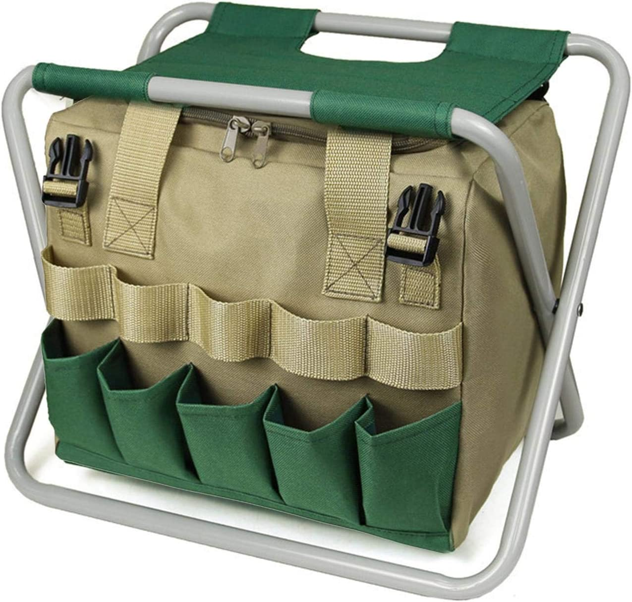 Garden Tools Stool, Folding Gardening Stool Chair with 1 Tote Bag, Sturdy Portable Garden Seat Garden Tool Organizer Seat, Gardening Gifts Set for Mom/Dad and Gardeners (Without Tools)