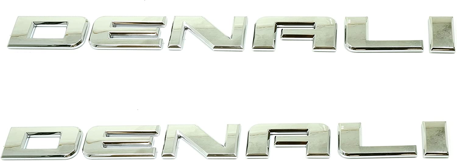 Set of 2 GM Chrome DENALI Door Emblem Liftgate Nameplate Envoy Yukon