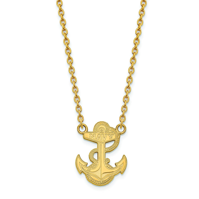 Navy Large (3 / 4インチ) ペンダントW/ネックレス(ゴールドメッキ)   B01IYEUW24