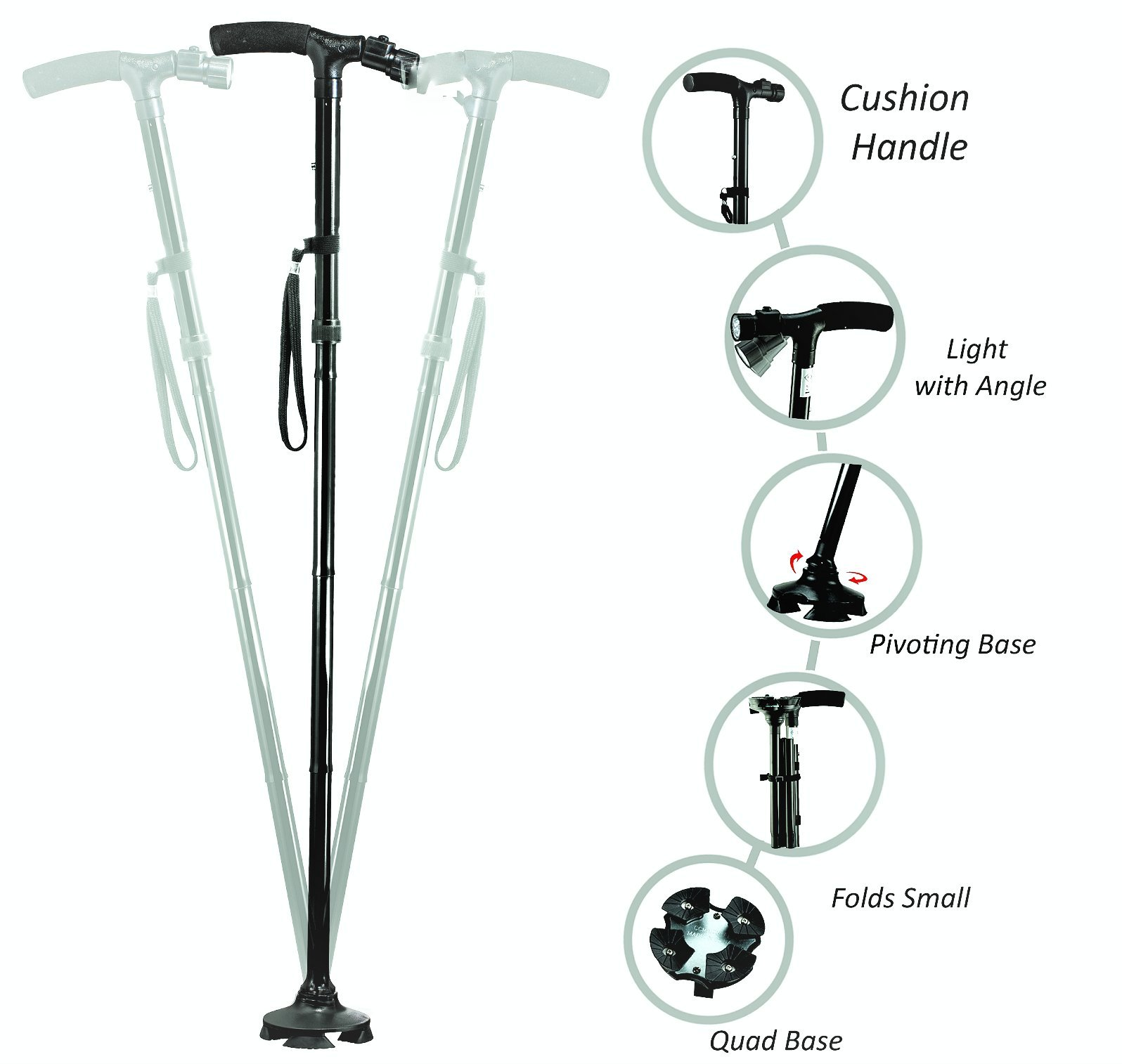 Medi Cane Folding Travel Cane With Pivoting Wide Quad foot Base And Adjustable 6 Bulb LED Flashlight (Medium)