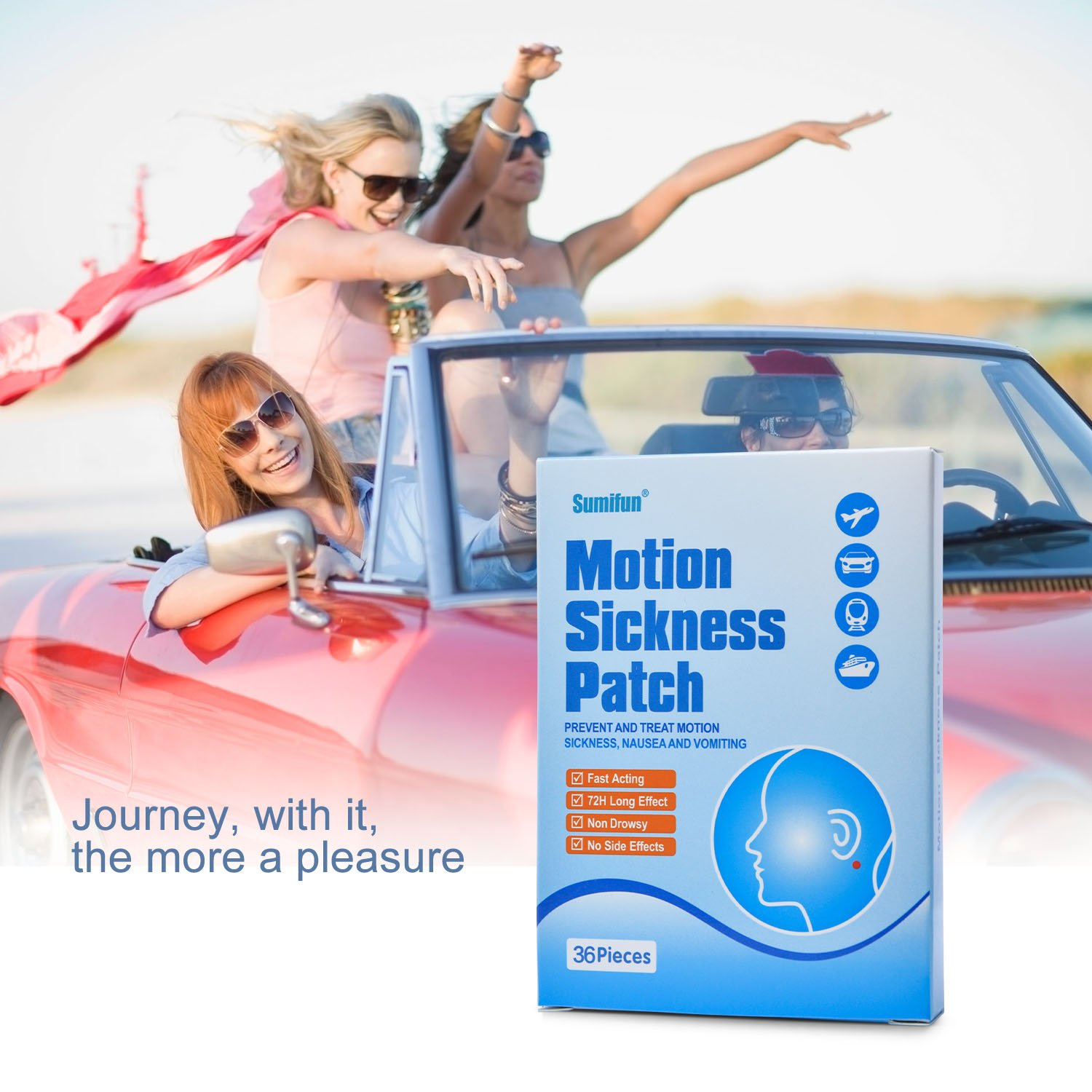 Sumifun 72 Pcs/ 2 Boxes Herbal Motion Sickness Patch by Sumifun (Image #5)