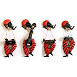 IndoRoots Set of 4 musician Ganesh wall hangings