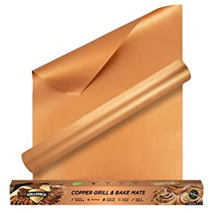 GrillShield Extra Large Copper Grill and Bake Mats Set of 2 - Best Gift - 17 X 23 inches Non Stick Mats for BBQ Grilling & Baking, Reusable and Easy to Clean
