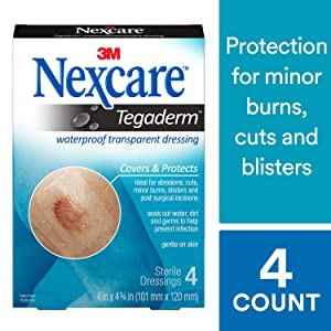 Nexcare Tegaderm Waterproof Transparent Dressing, 2-3/8 Inches X 2-3/4 Inches, 4 Count